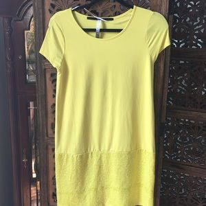 Yellow mini shift dress.